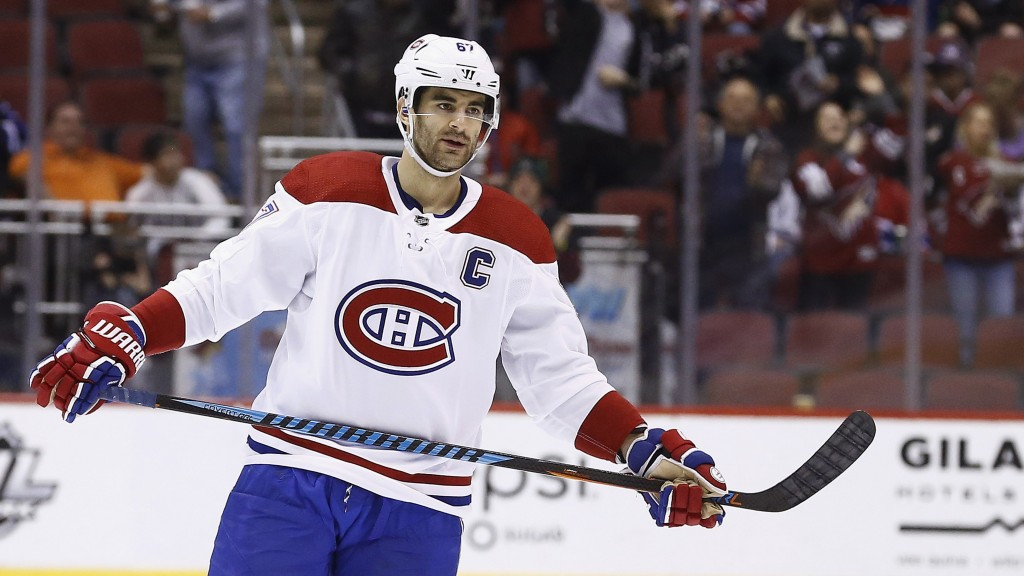 FILE - In this Thursday, Feb. 15, 2018, file photo, Montreal Canadiens left wing Max Pacioretty (67) pauses on the ice during the second period of an