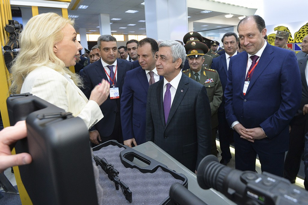 In this handout photo taken on Wednesday, March 28, 2018 and released by Armenian Presidential Press Service, Svetlana Nikolayeva, the head of a gun c