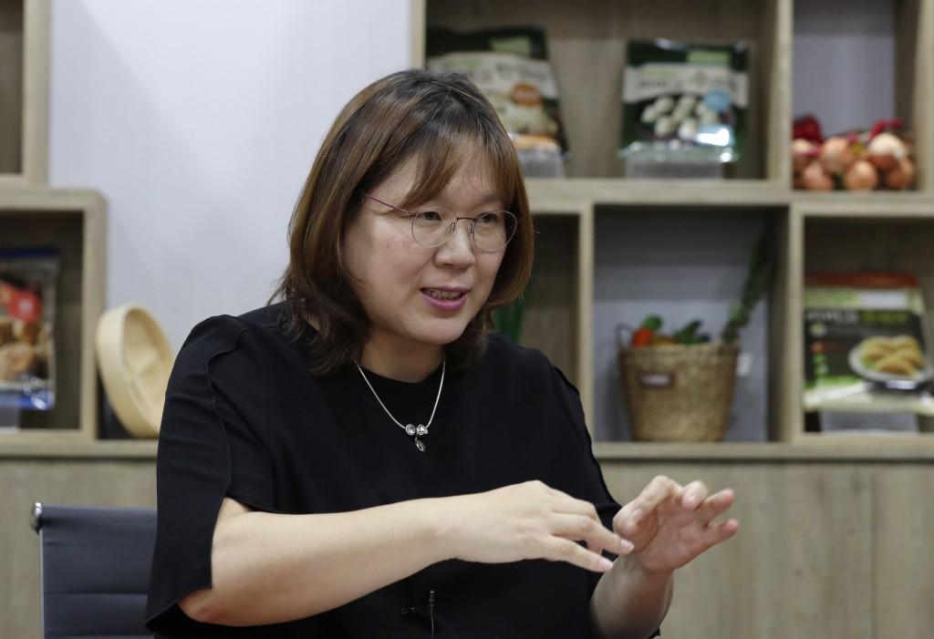In this July 18, 2018, photo, Cho Gun Ae, a dumpling researcher at CJ CheilJedang Corp., gestures during an interview at CJ's Bibigo dumpling factory