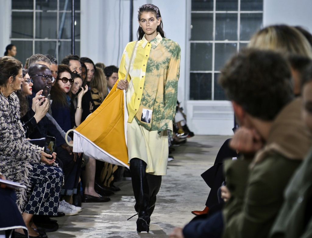 Kaia Gerber models the Proenza Schouler collection during Fashion Week, Monday Sept. 10, 2018 in New York. (AP Photo/Bebeto Matthews)