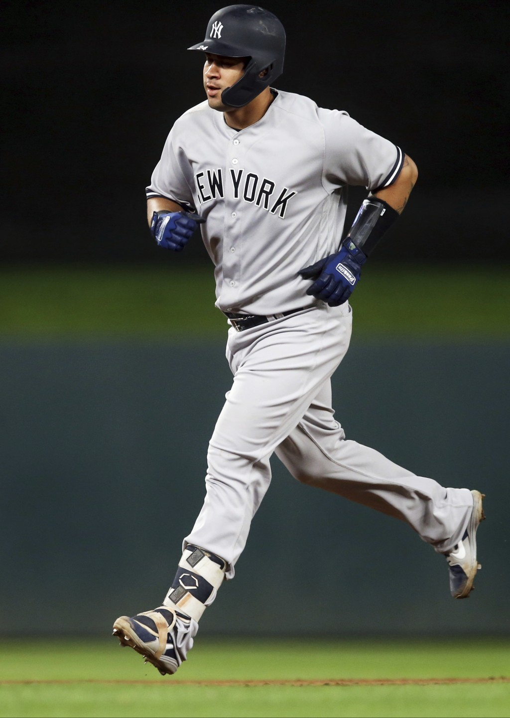New York Yankees' Gary Sanchez runs the bases on a solo home run off Minnesota Twins pitcher Kyle Gibson in the sixth inning of a baseball game Monday