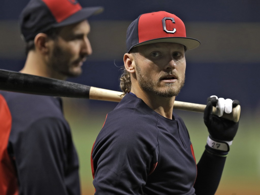 Cleveland Indians' Josh Donaldson awaits his turn in the batting cage before a baseball game against the Tampa Bay Rays, Monday, Sept. 10, 2018, in St