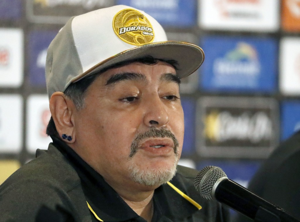 Former soccer great Diego Maradona speaks at a press conference where he was presented as the new manager of the Dorados of Sinaloa, in Culiacan, Mexi