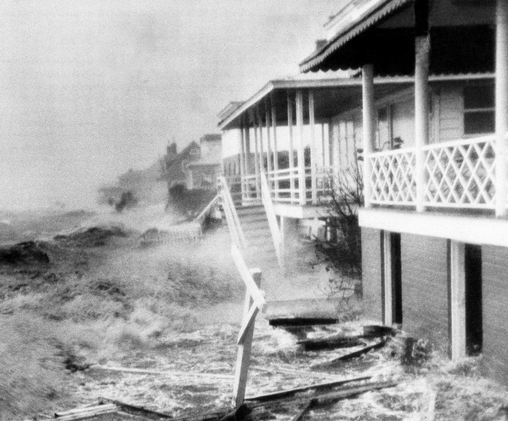 FILE-In this Oct. 15, 1954 file photo, Hurricane Hazel destruction is seen in Morehead City, N.C. The last time the midsection of the East Coast stare