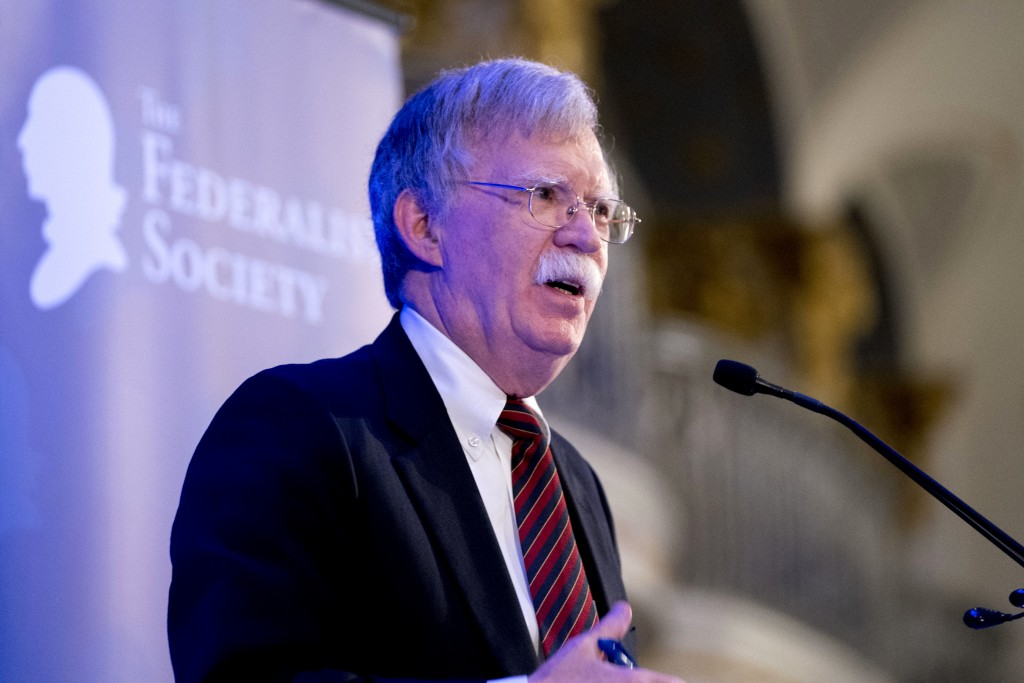National Security Adviser John Bolton speaks at a Federalist Society luncheon at the Mayflower Hotel, Monday, Sept. 10, 2018, in Washington. (AP Photo