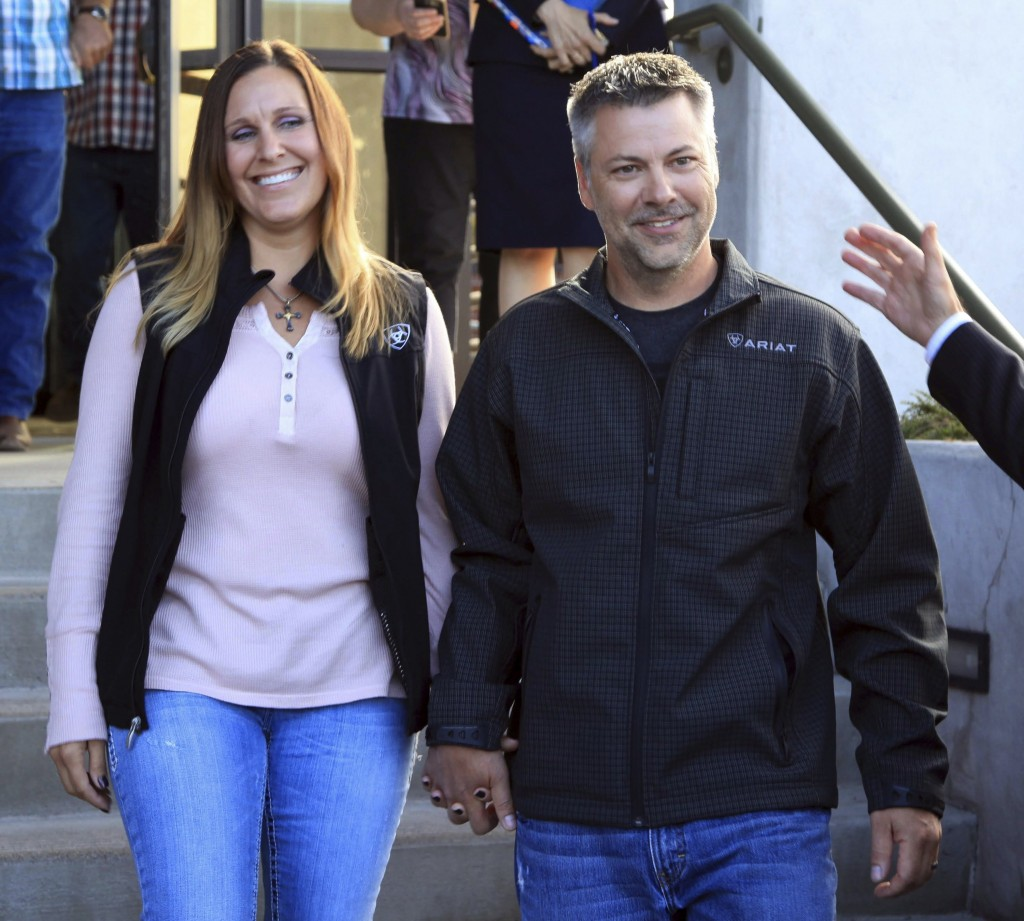 This photo provided by the Oregon Justice Resource Center shows Josh Horner with his wife Kelli Horner after a hearing in Bend, Ore., Monday, Sept. 10