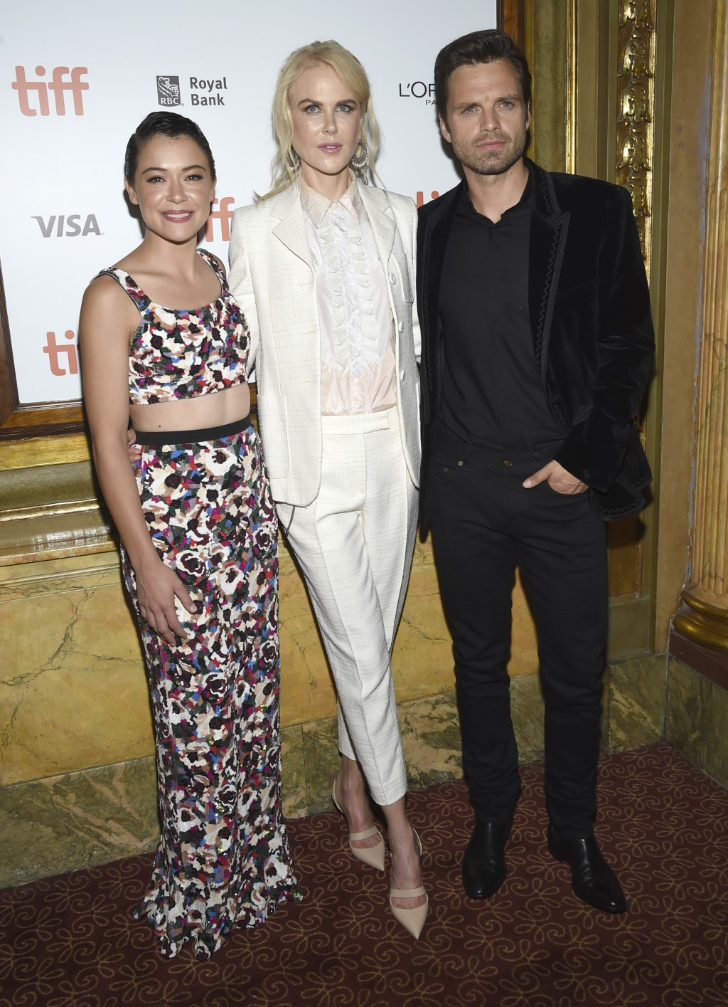 "Tatiana Maslany, from left, Nicole Kidman and Sebastian Stan attend the premiere for ""Destroyer"" on day 5 of the Toronto International Film Festival a"