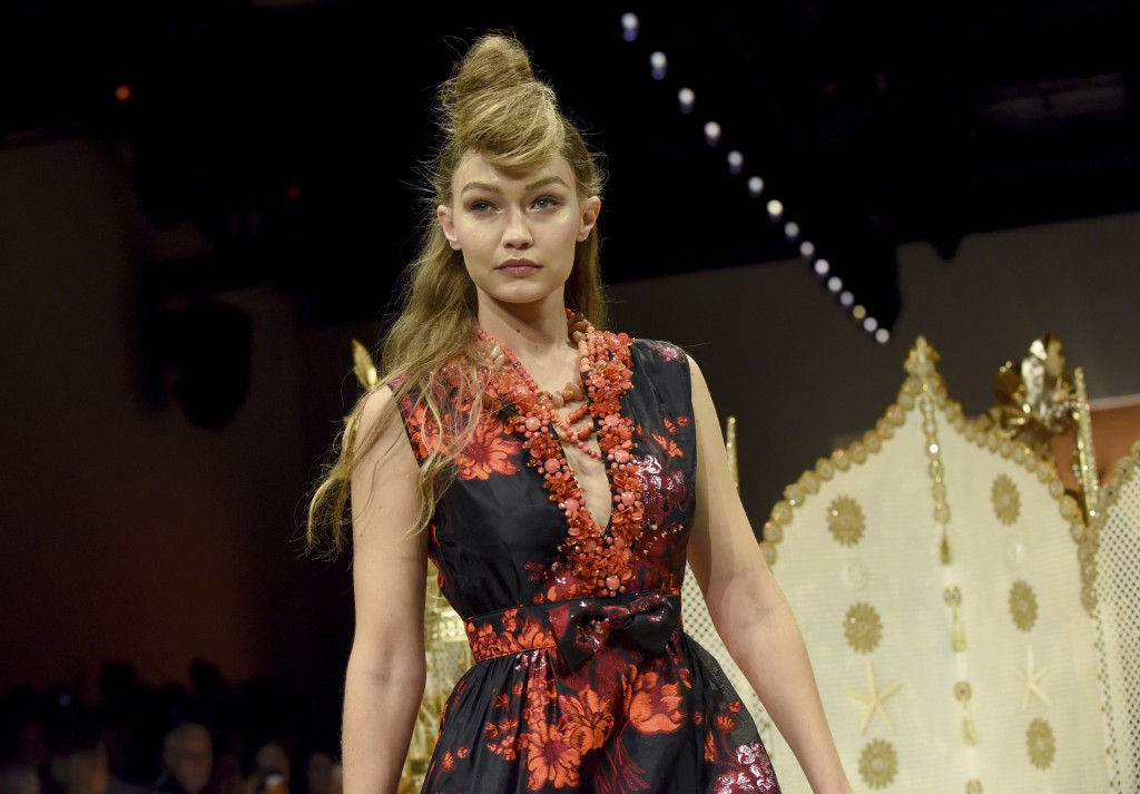 Gigi Hadid walks the runway at the Anna Sui spring 2019 show during New York Fashion Week, Monday, Sept. 10, 2018. (AP Photo/Diane Bondareff)
