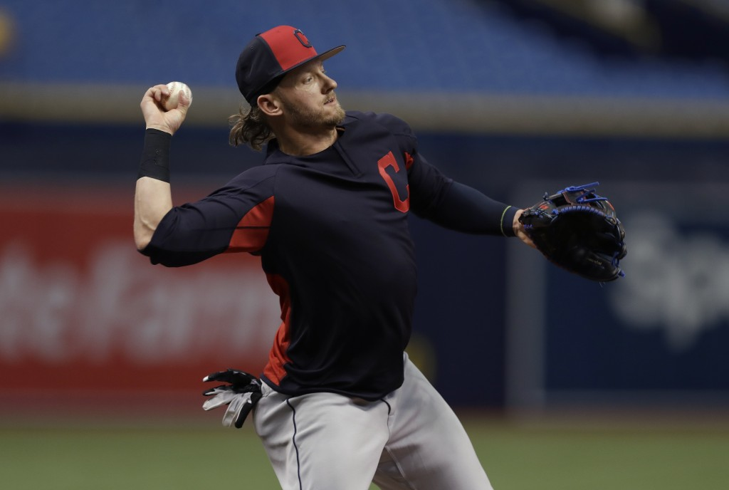 Cleveland Indians third baseman Josh Donaldson takes infield practice before a baseball game against the Tampa Bay Rays Monday, Sept. 10, 2018, in St.