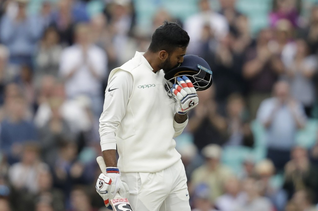 India's K. L. Rahul celebrates his century during the fifth cricket test match of a five match series between England and India at the Oval cricket gr
