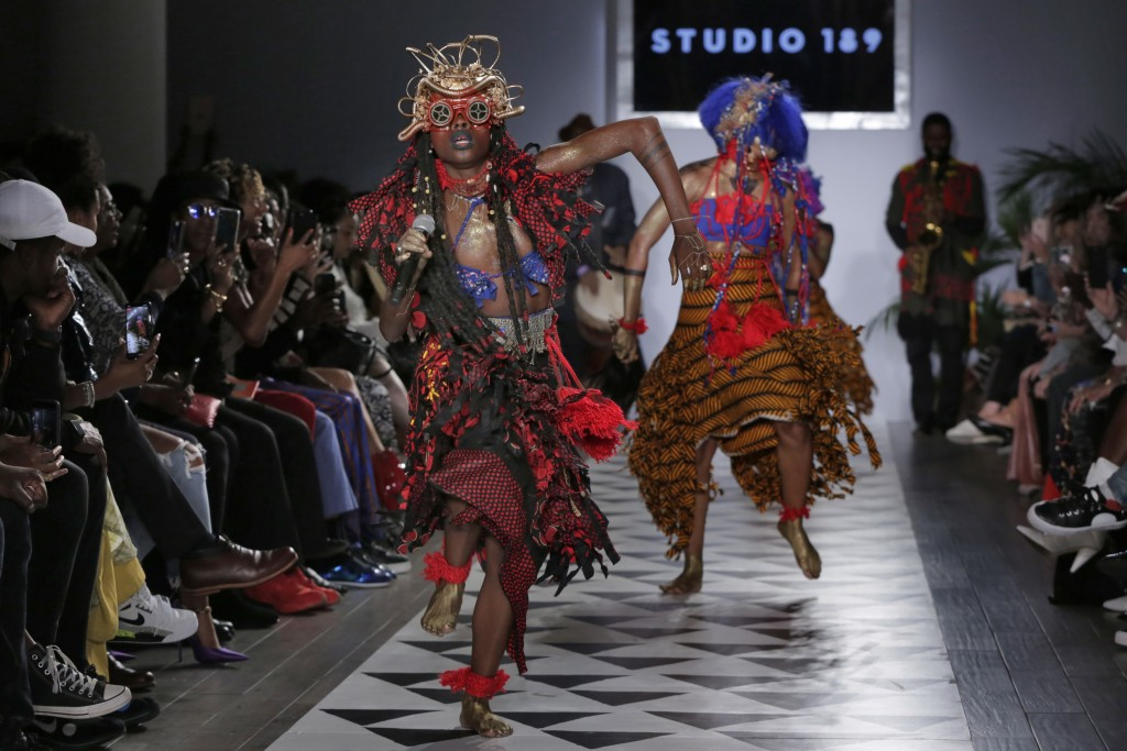 Dancers perform at the beginning of the Studio 189 spring 2019 collection, during Fashion Week in New York, Monday, Sept. 10, 2018. (AP Photo/Richard