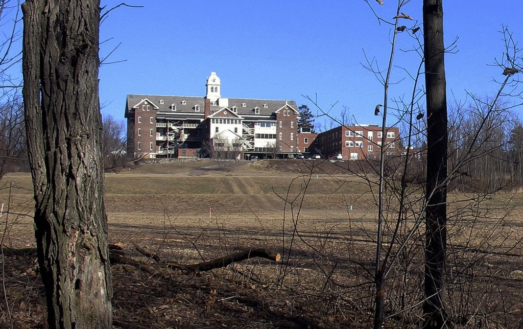 FILE - This Feb. 22, 2015, file photo shows buildings and property of Burlington College in Burlington, Vt. Prior to housing the college, the building
