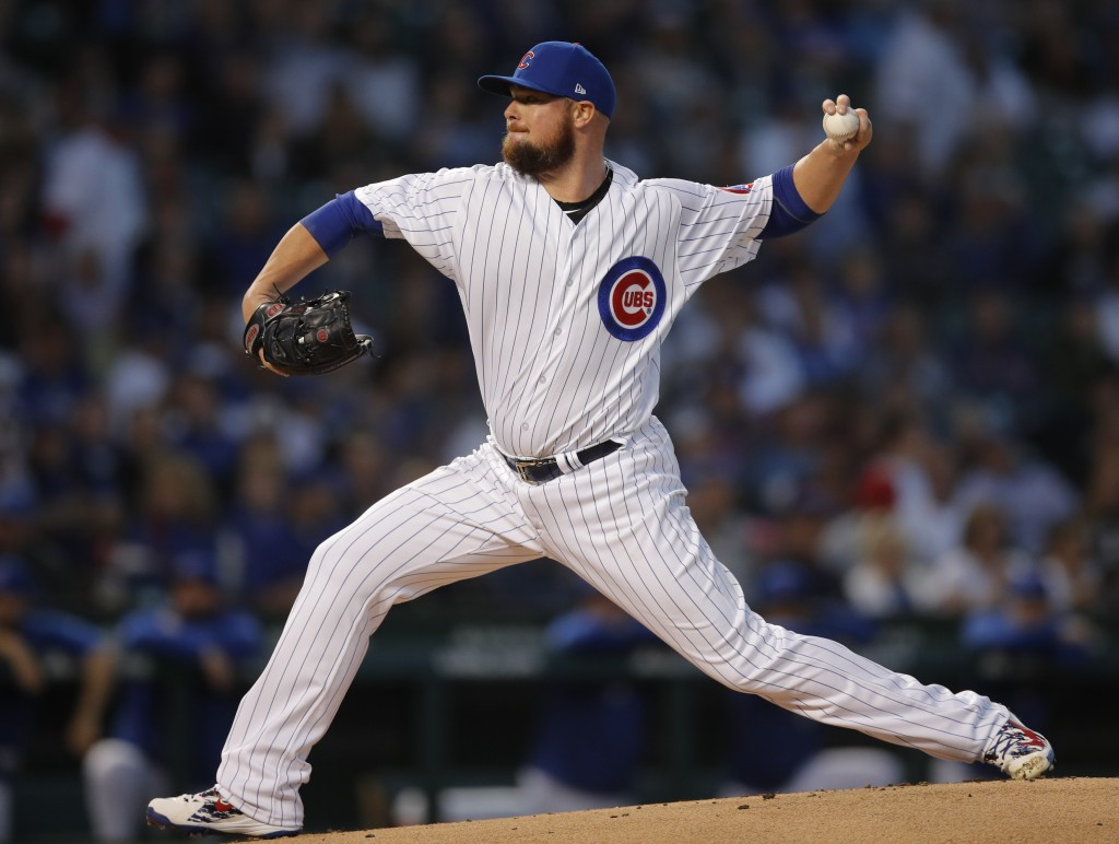 Chicago Cubs' Jon Lester pitches against the Milwaukee Brewers during the first inning of a baseball game Monday, Sept. 10, 2018, in Chicago. (AP Phot