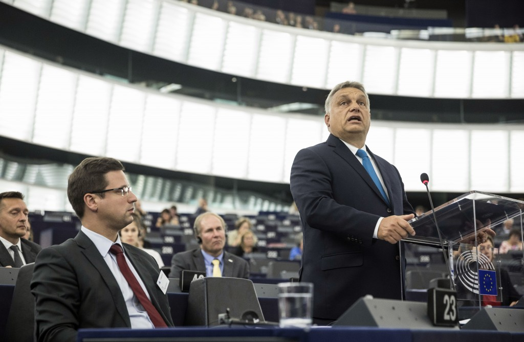 Hungary's Prime Minister Viktor Orban delivers his speech at the European Parliament in Strasbourg, eastern France, Tuesday Sept.11, 2018. The Europea