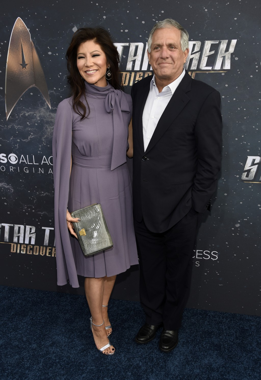 FILE - In this Sept. 19, 2017 file photo, Les Moonves, right, chairman and CEO of CBS Corporation, poses with his wife, television personality Julie C