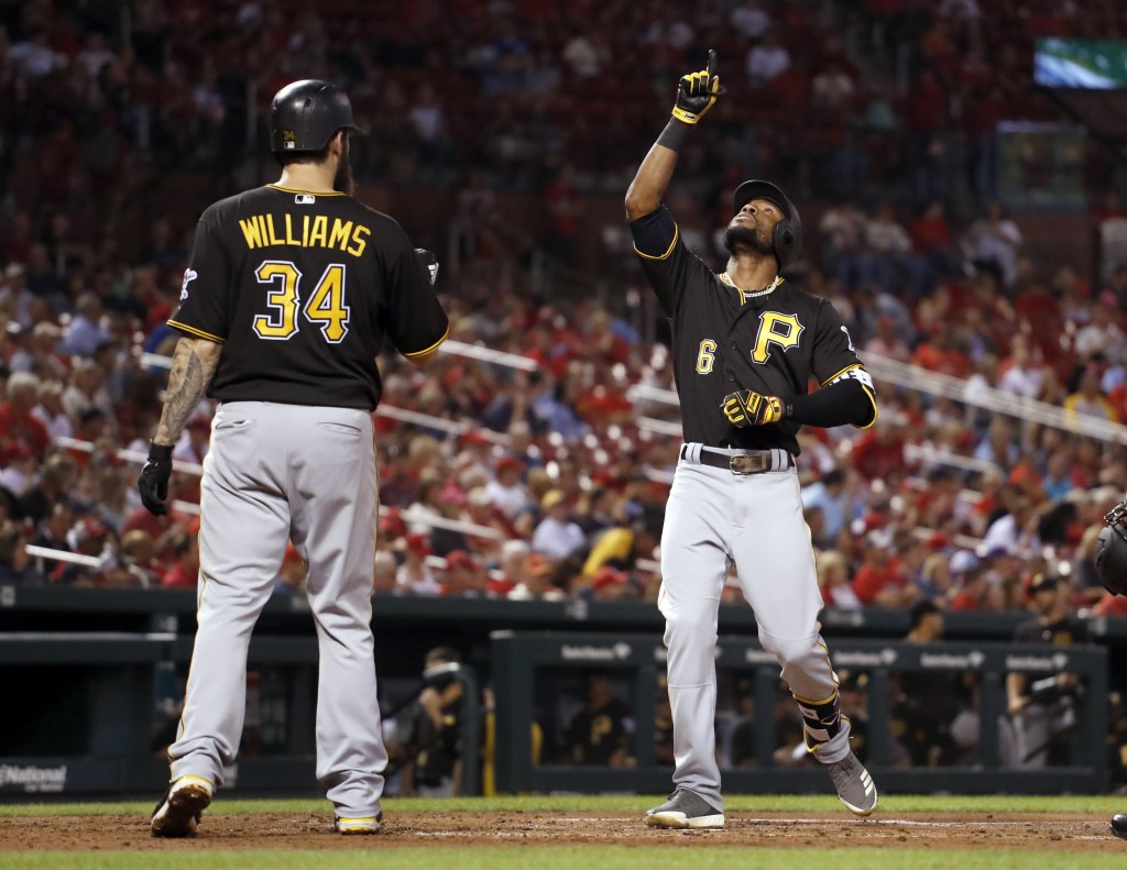 Pittsburgh Pirates' Starling Marte (6) points skyward after hitting a two-run home run as teammate Trevor Williams (34) watches during the third innin