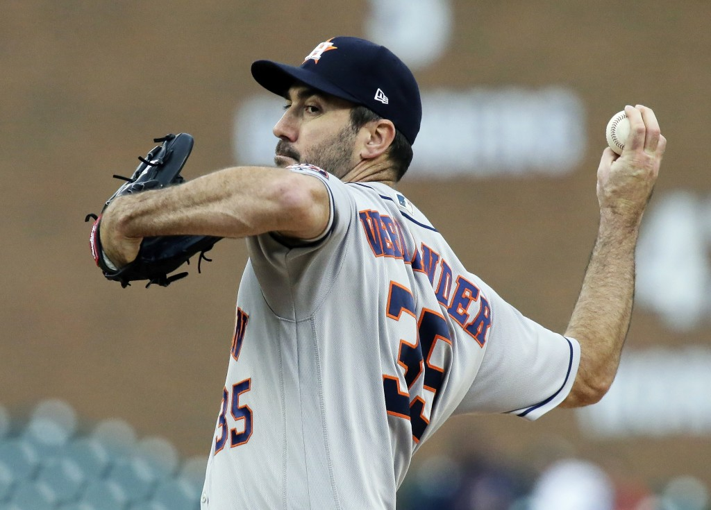 Houston Astros starting pitcher Justin Verlander (35) pitches against the Detroit Tigers during the first inning of a baseball game, Monday, Sept. 10,