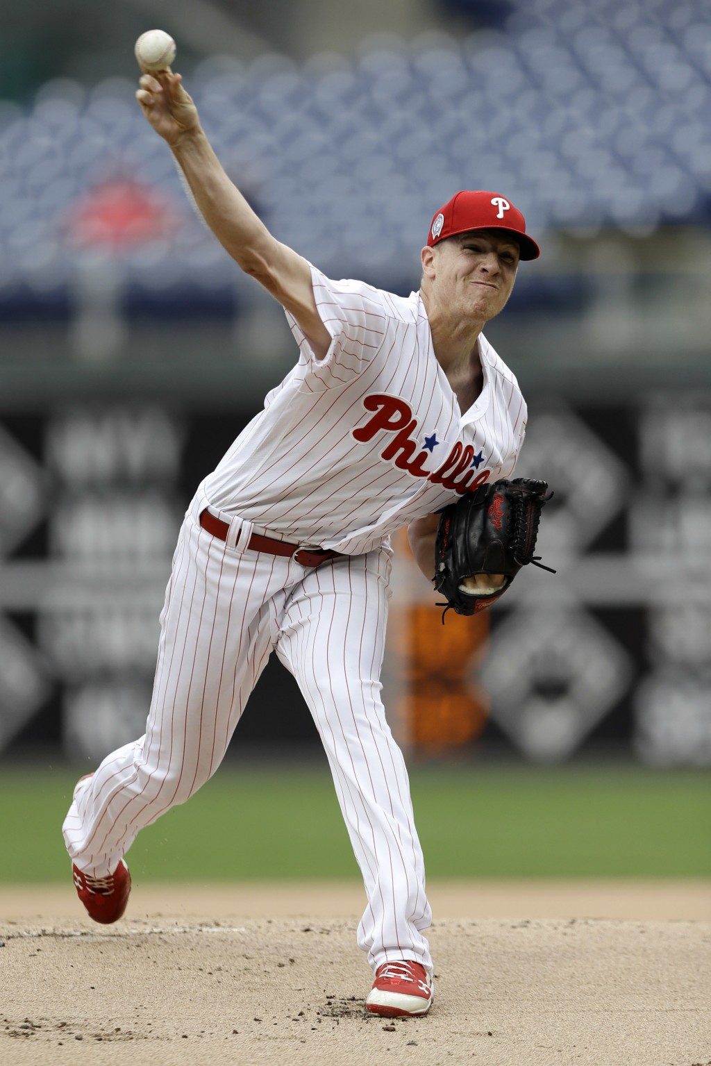 Philadelphia Phillies' Nick Pivetta pitches during the first inning of the first game of a baseball doubleheader against the Washington Nationals, Tue