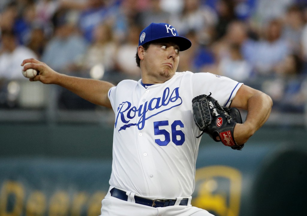 Kansas City Royals relief pitcher Brad Keller throws during the first inning of a baseball game against the Chicago White Sox, Tuesday, Sept. 11, 2018