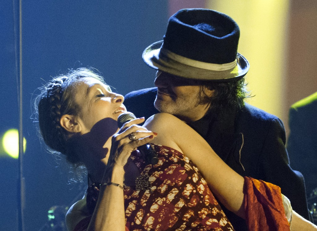 FILE - In this Feb.13, 2015 file photo, French singer Catherine Ringer and Rachid Taha, right, perform during the 30th Victoires de la Musique ceremon