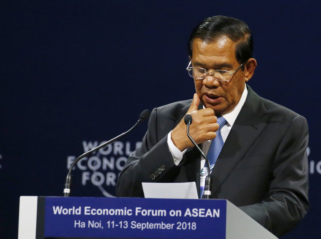 Cambodian Prime Minister Hun Sen addresses participants during the opening session of the World Economic Forum on ASEAN Wednesday, Sept. 12, 2018 in H