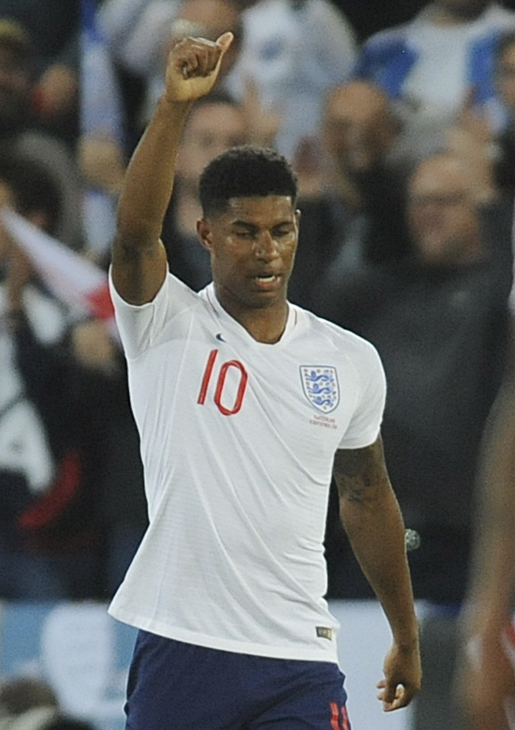 England's Marcus Rashford celebrates after scoring his side's first goal during the International friendly soccer match between England and Switzerlan