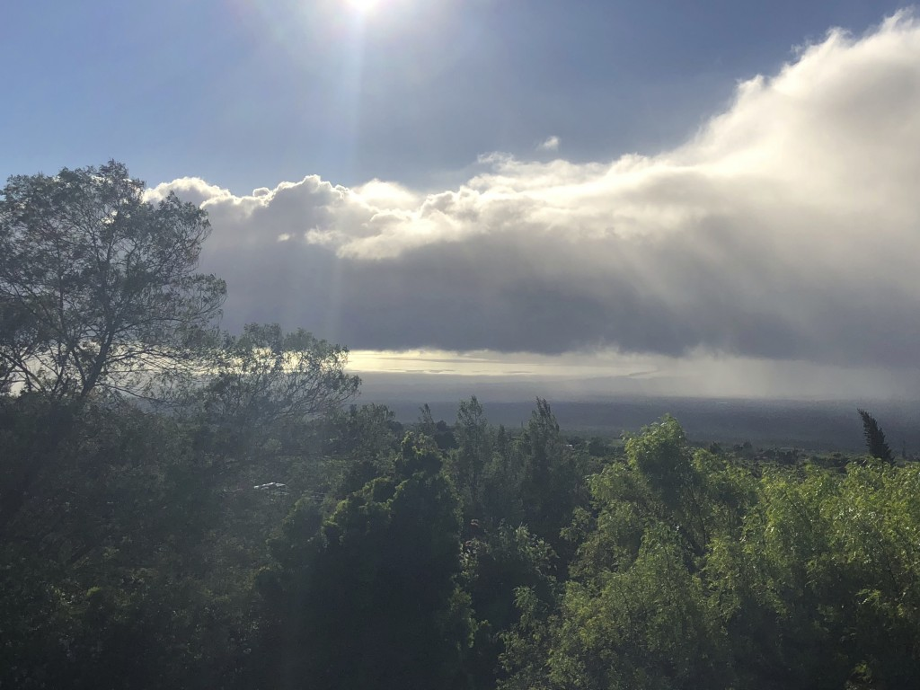 This Tuesday, Sept. 11, 2018 photo provided by Yuki Lei Sugimura shows the view from Kula, Hawaii, on the slopes of Haleakala mountain on Maui as resi