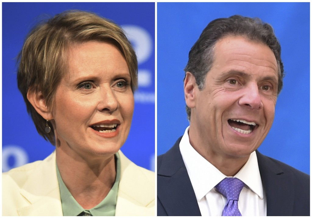 FILE - In this combination of file photos, New York gubernatorial candidate Cynthia Nixon, left, speaks during a Democratic primary debate in Hempstea
