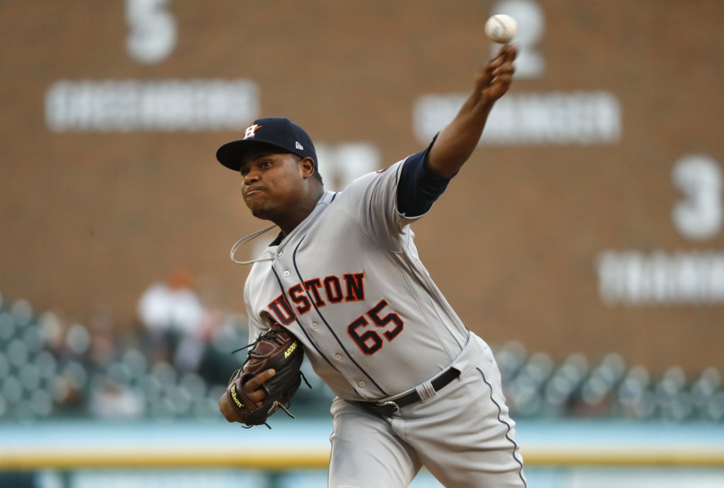 Houston Astros pitcher Framber Valdez throws in the second inning of a baseball game against the Detroit Tigers in Detroit, Tuesday, Sept. 11, 2018. (