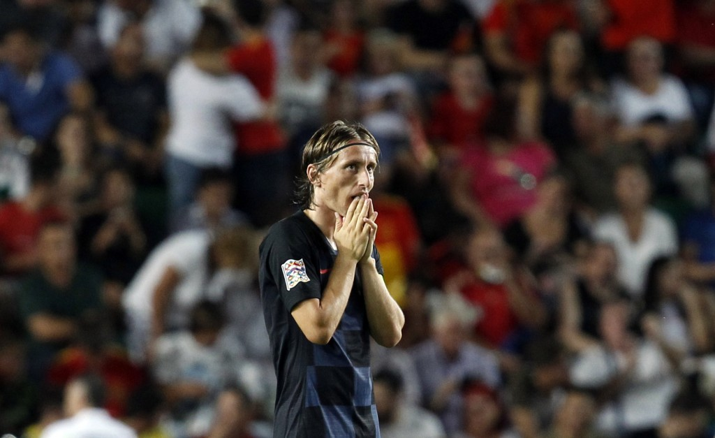 Croatia's Luka Modric reacts after Spain's Rodrigo Moreno scoring his side's fourth goal during the UEFA Nations League soccer match between Spain and