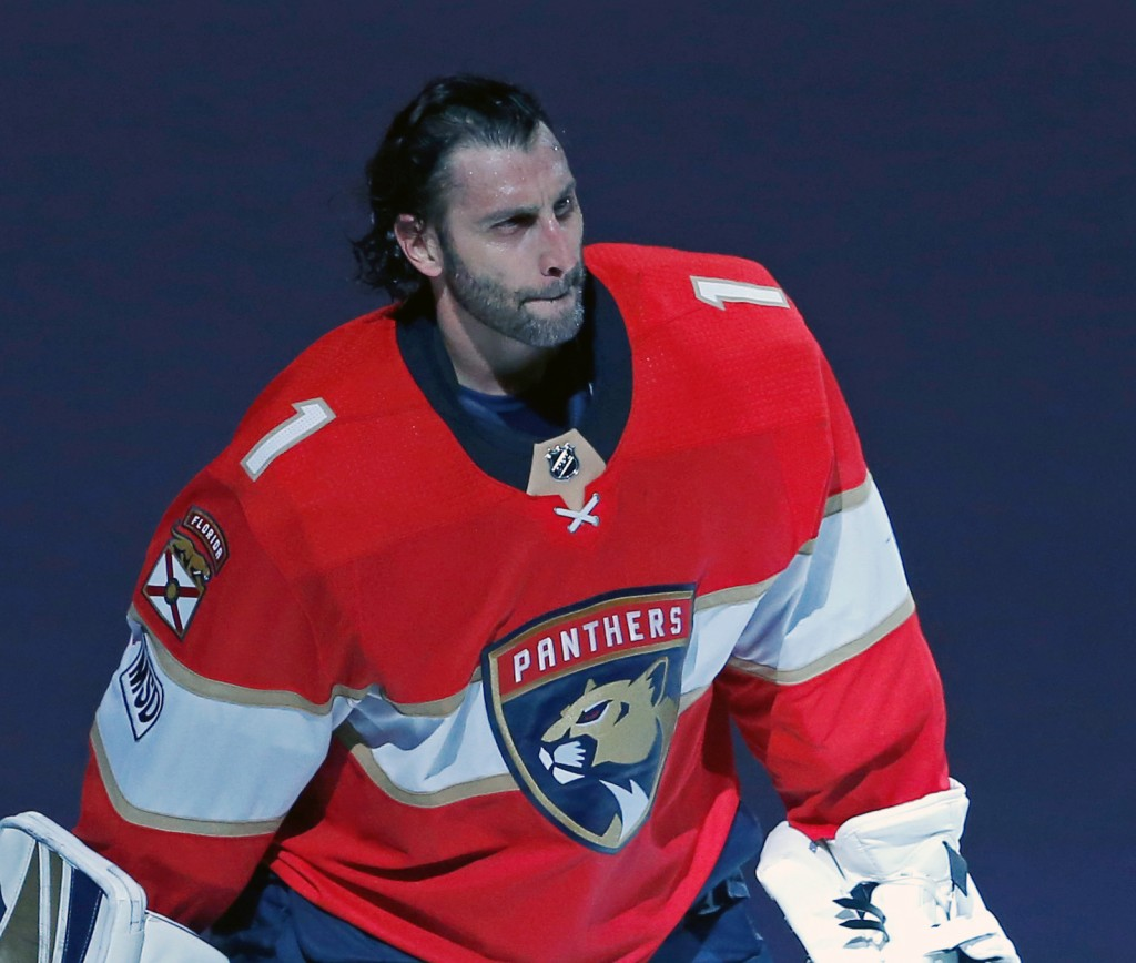FILE - In this April 2, 2018, file photo, Florida Panthers goaltender Roberto Luongo skates back onto the ice for an encore after the Panthers' 3-2 wi