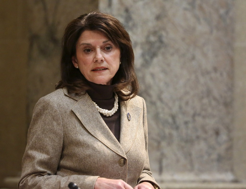 FILE - In this Nov. 7, 2017, file photo, Wisconsin state Sen. Leah Vukmir stands in the Senate chambers at the state Capitol in Madison. Vukmir wasn't
