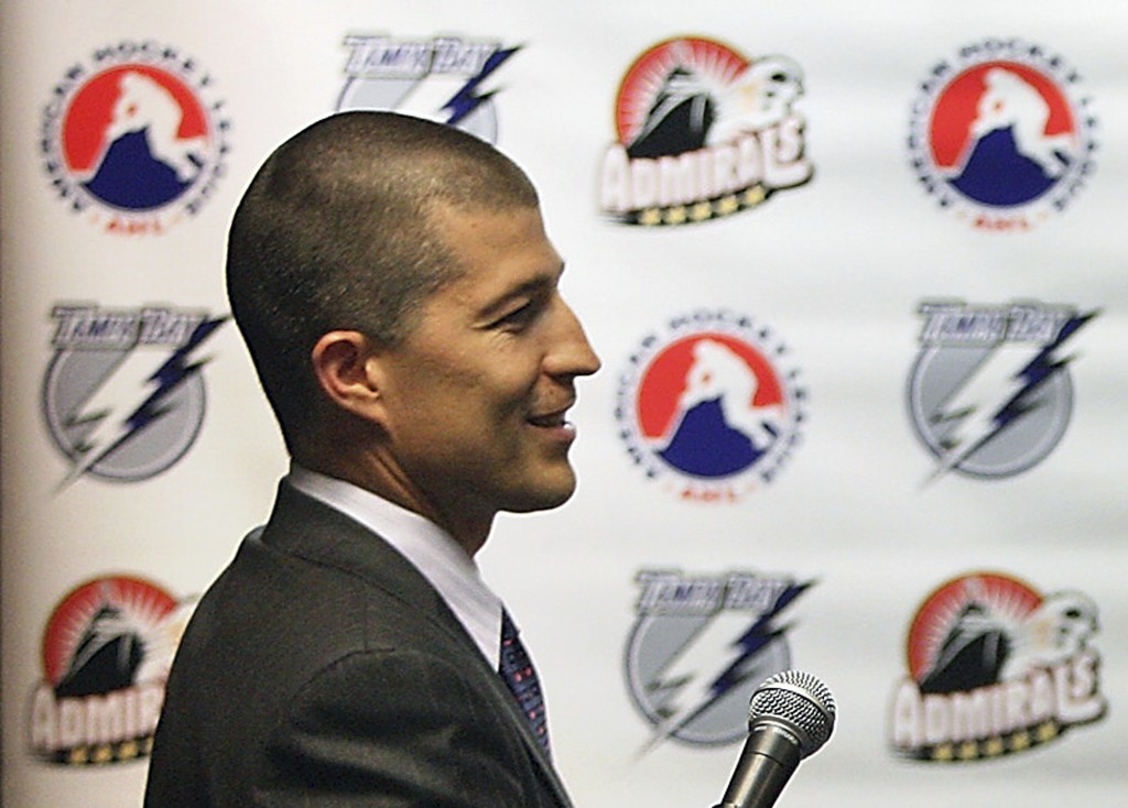 In this Aug. 10, 2010, file photo, then-Norfolk Admirals ice hockey team general manager Julien BriseBois is shown during a press conference in Norfol