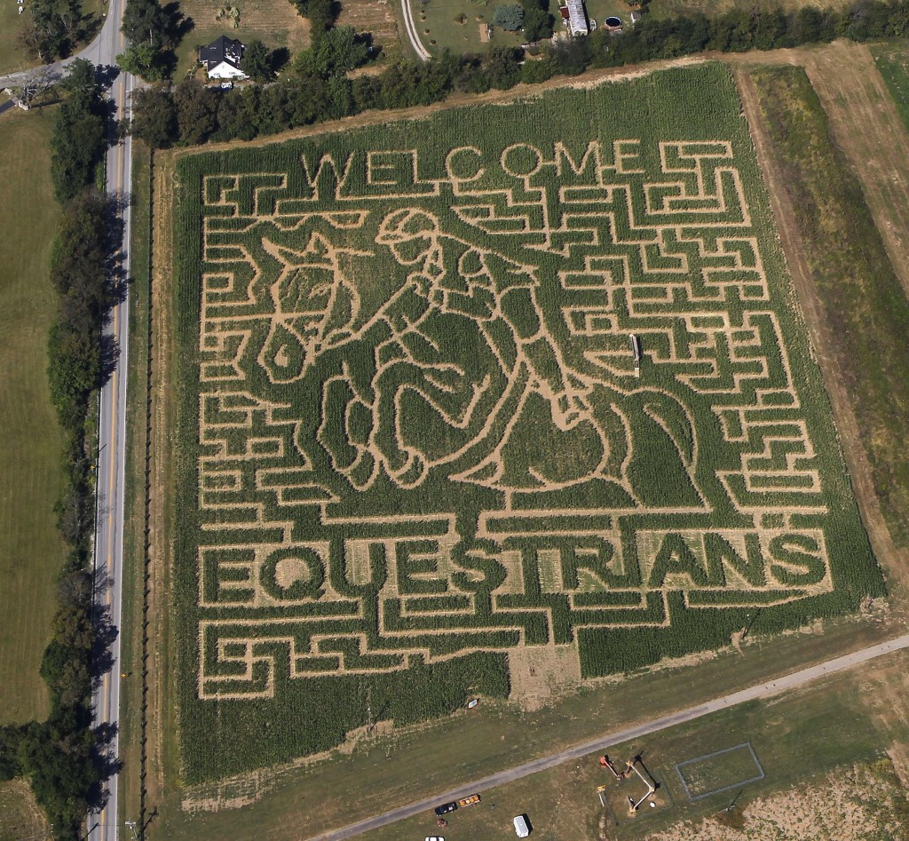 In this aerial photo taken on Sept. 21, 2010, a giant corn field maze at the Kelley Farms welcomes the riders for the World Equestrian Games, in Lexin