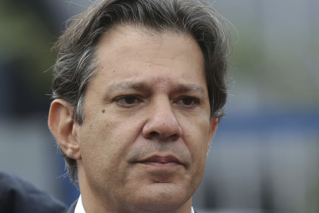 Workers' Party presidential candidate Fernando Haddad holds a campaign rally outside federal police headquarters where former President Luiz inacio Lu