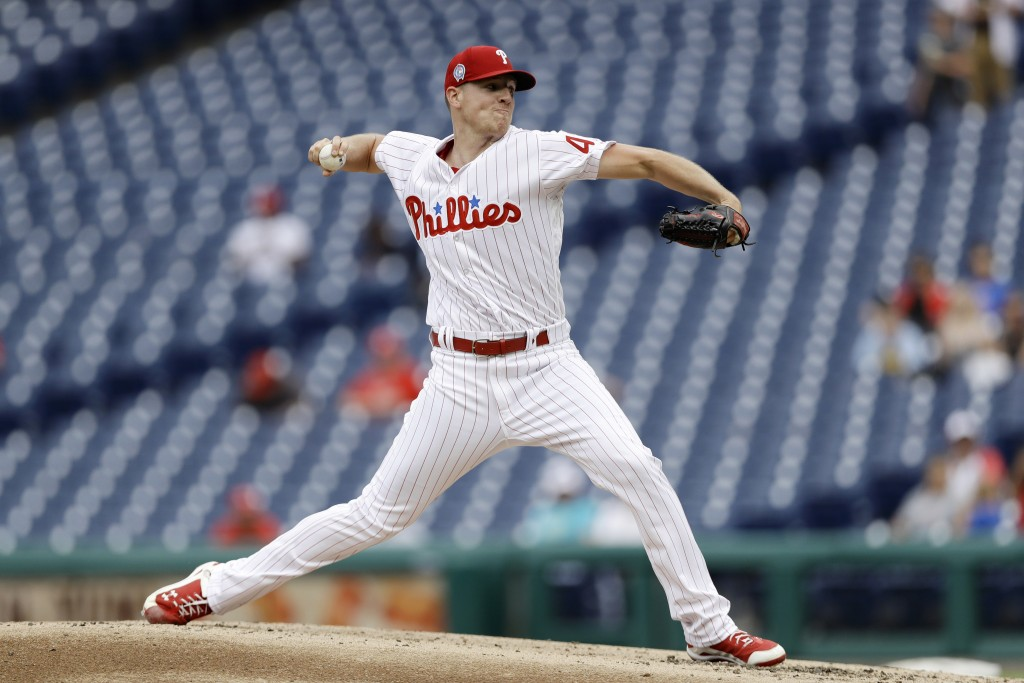 Philadelphia Phillies' Nick Pivetta pitches during the third inning of the first game of a baseball doubleheader against the Washington Nationals, Tue