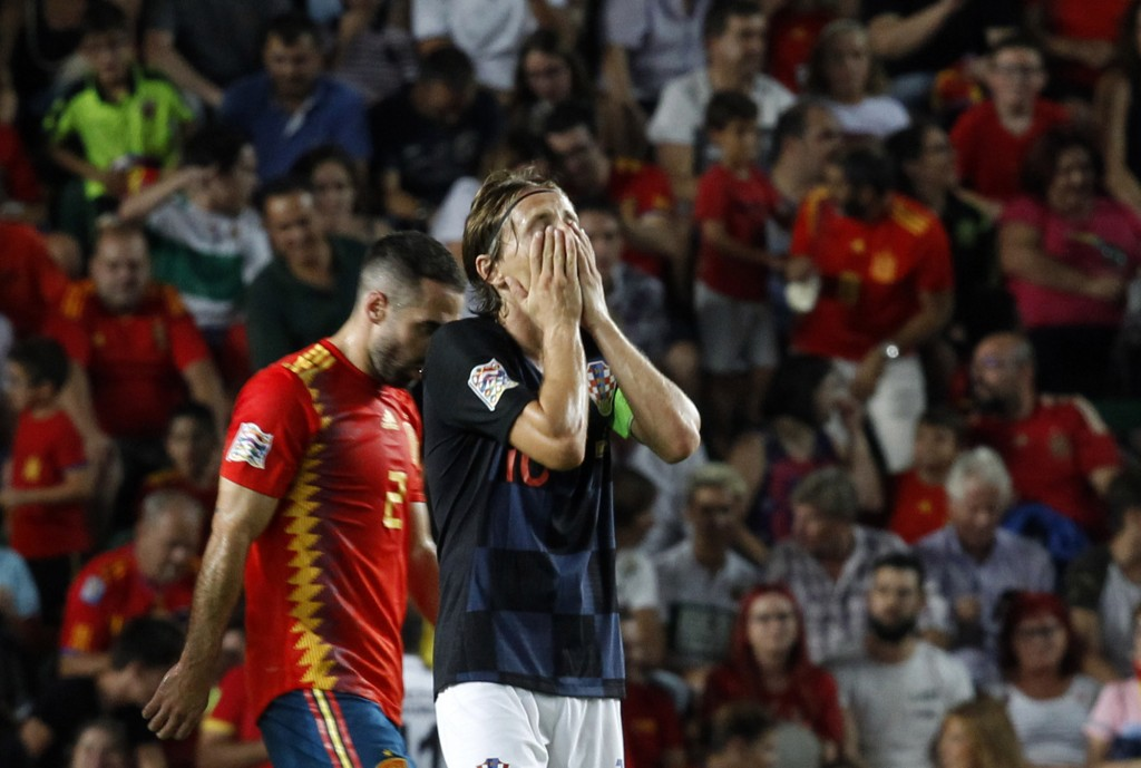 Croatia's Luka Modric reacts after Spain's Sergio Ramos scoring his side's fifth goal during the UEFA Nations League soccer match between Spain and Cr