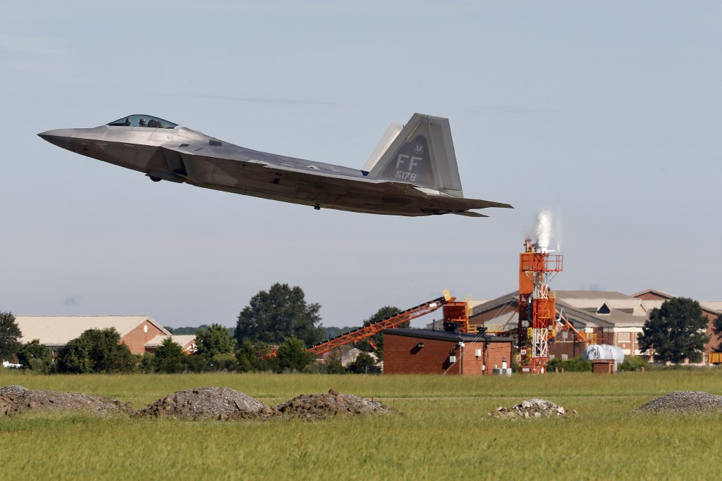 An F-22 departs Langley Air Force Base, Va., Tuesday morning, Sept. 11, 2018, as Hurricane Florence approaches the Eastern Seaboard. Officials from Jo