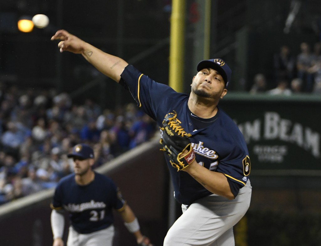 Milwaukee Brewers starting pitcher Jhoulys Chacin (45) throws the ball against the Chicago Cubs during the first inning of a baseball game, Tuesday, S