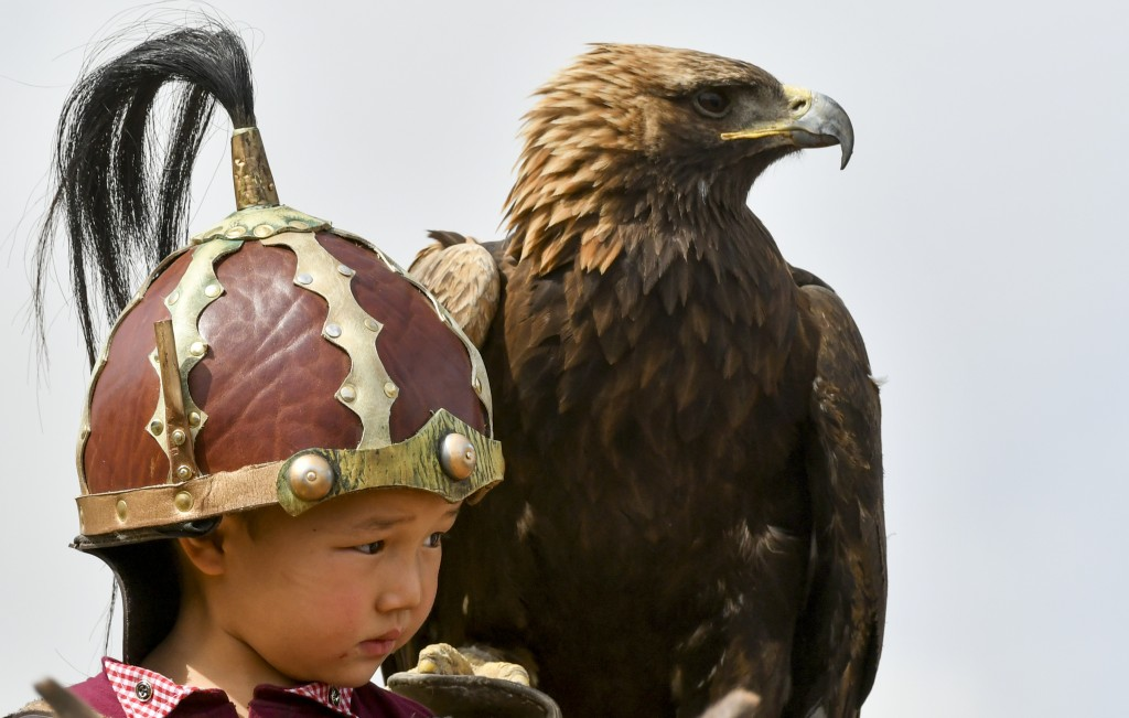 In this photo taken on Thursday, Sept. 6, 2018, a Kyrgyz boy holds a golden eagle for an eagle hunt during the Third Nomad Games, in Cholpon-Ata, 250
