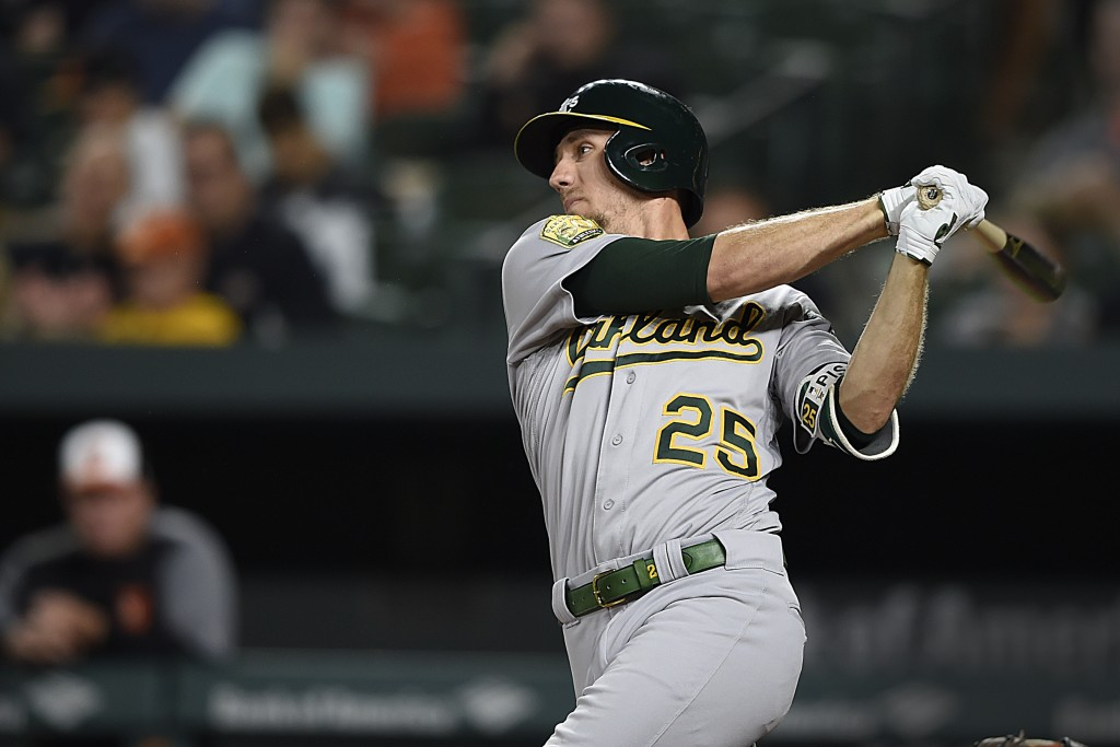 Oakland Athletics' Stephen Piscotty follows through on a RBI single against the Baltimore Oriole in the third inning of a baseball game, Tuesday, Sept