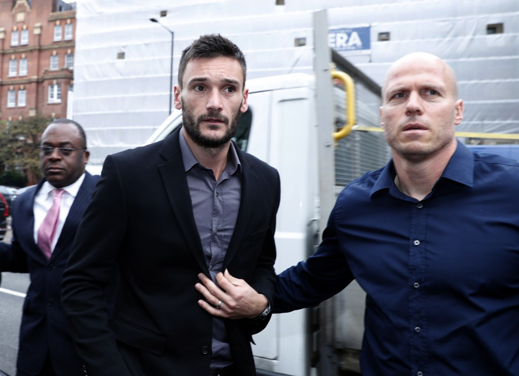 English soccer team Tottenham Hotspur's French goalkeeper Hugo Lloris arrives at Westminster magistrates court to answer a charge of a drinking and dr