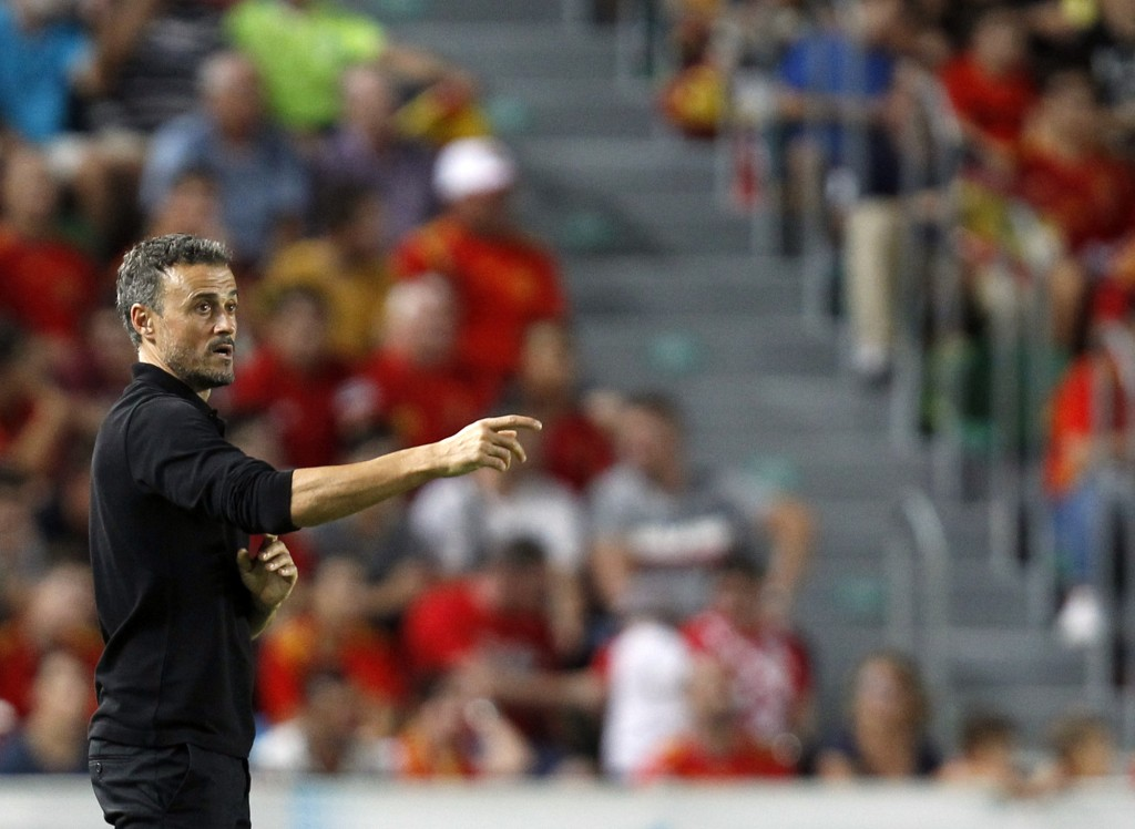 Spain head coach Luis Enrique gives instructions to his players during the UEFA Nations League soccer match between Spain and Croatia at the Manuel Ma
