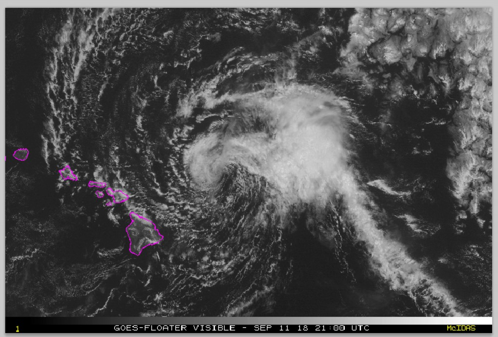 This satellite image made available the National Oceanic and Atmospheric Administration (NOAA) shows Tropical Storm Olivia east of the main islands of