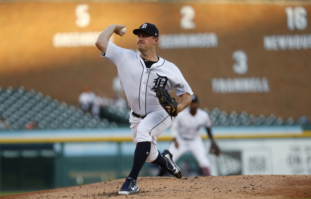 Detroit Tigers pitcher Jordan Zimmermann throws against the Houston Astros in the second inning of a baseball game against the Detroit Tigers in Detro