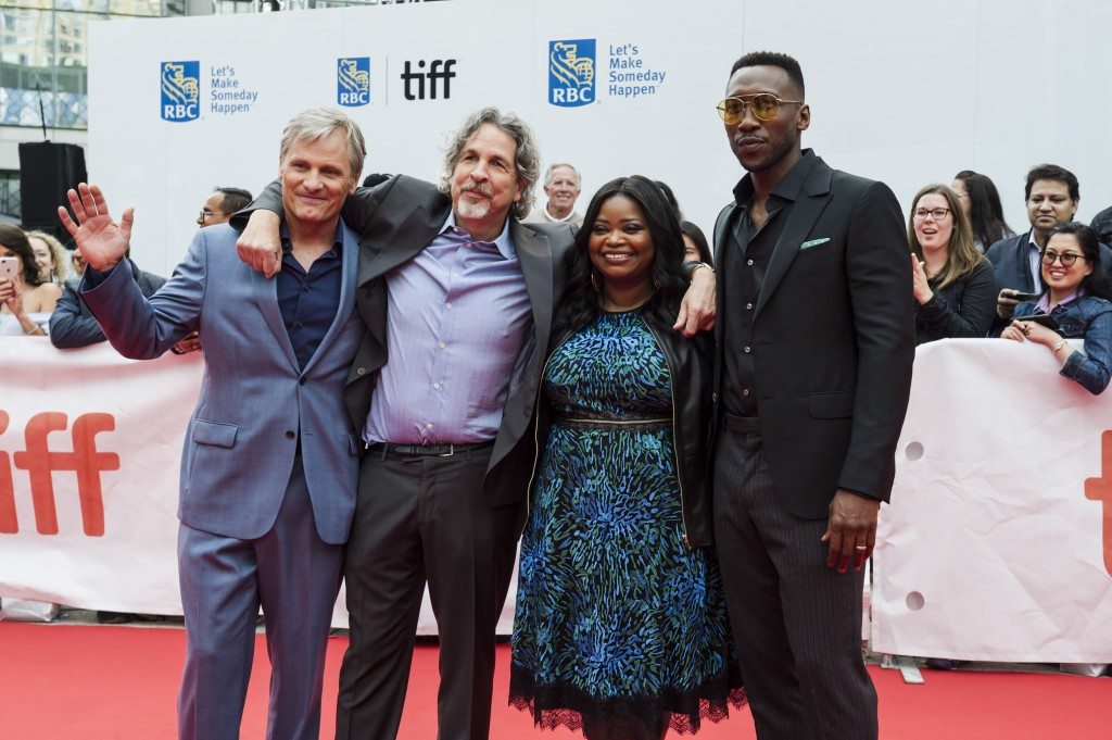 "Actors Viggo Mortensen, left to right, director Peter Farrelly, Octavia Spencer and Mahershala Ali pose on the red carpet before the screening of ""Gre"