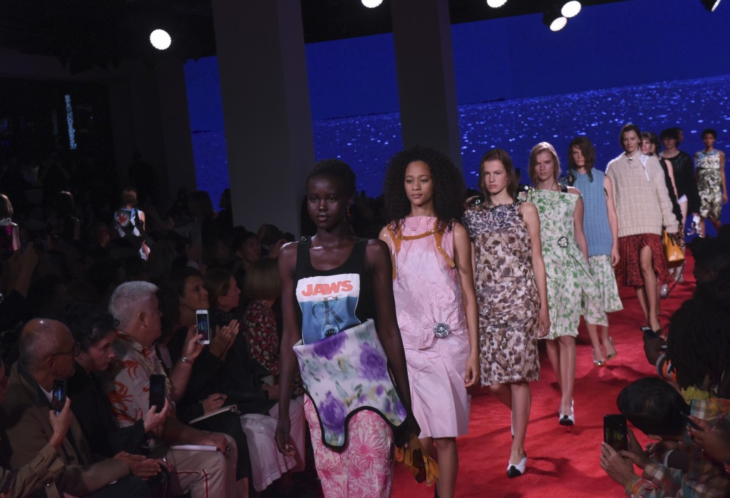 Models walk the runway at the finale of the Calvin Klein spring 2019 runway show during New York Fashion Week, Tuesday, Sept. 11, 2018. (AP Photo/Dian...