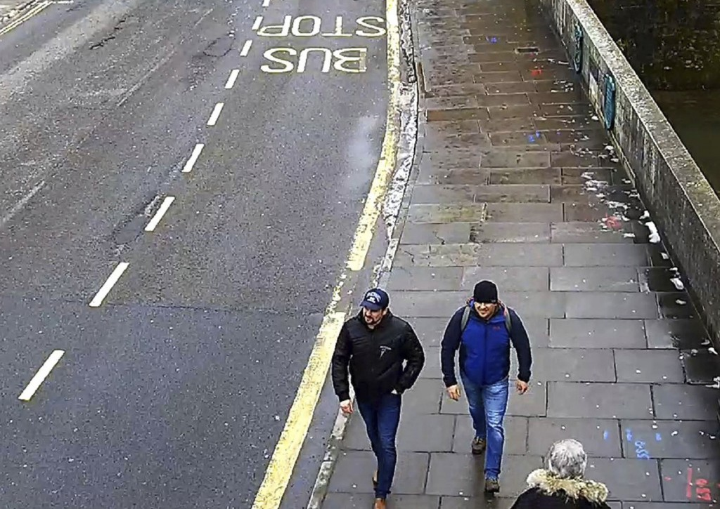 FILE In this file grab taken from CCTV and issued by the Metropolitan Police in London on Wednesday Sept. 5, 2018, Ruslan Boshirov and Alexander Petro