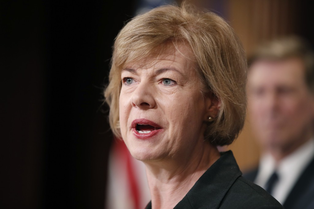 FILE - In this April 25, 2017, file photo, Sen. Tammy Baldwin, D-Wis., speaks about President Donald Trump's first 100 days, during a media availabili