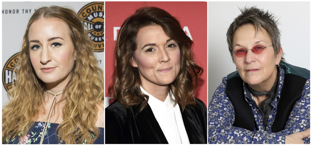 This combination photo shows Margo Price, from left, Brandi Carlile and Mary Gauthier, who are nominated, along with Jason Isbell for album of the yea